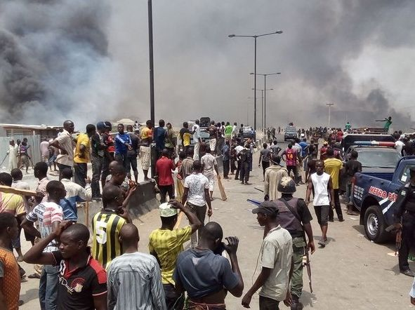 File Photo: photo from the Mile 12 clash between Hausa traders and Yoruba youths