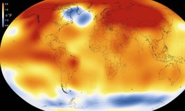 An illustration shows that 2015 was the hottest year since 1880