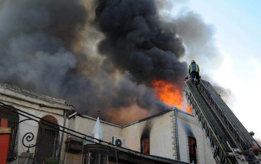 Old city of Damascus is on fire