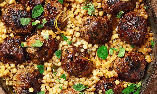 Yotam Ottolenghi's braised veal meatballs with fregola. Photograph: Louise Hagger for the Guardian. Food styling: Emily Kydd. Prop styling: Jennifer Kay