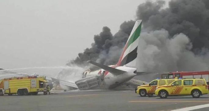 Plane crash land, engine up in flames