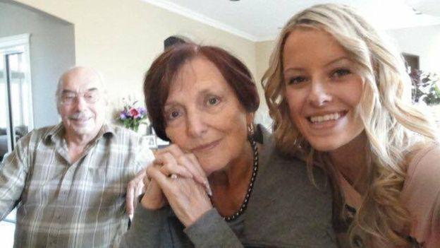 Wolfram (L) and Anita Gottschalk (R) with their granddaughter, Ashley Kaila Baryik