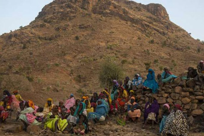 Women and children at the Marrah Mountains in Darfur in western Sudan.