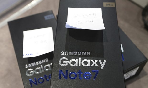 Returned boxes of Samsung Galaxy Note 7 phones in Seoul, South Korea