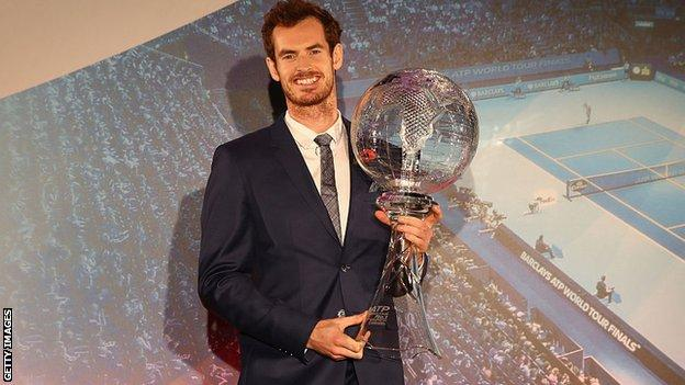 Andy Murray received his world number one trophy on Thursday