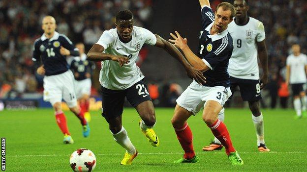 Wilfried Zaha won the second of his two England caps in a friendly against Scotland in August 2013