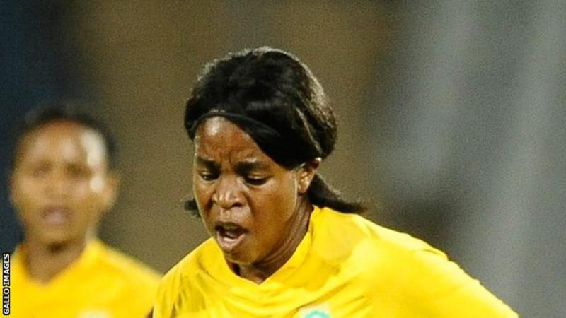 Andisiwe Mgcoyi scuffed in the opener for South Africa on 28 minutes