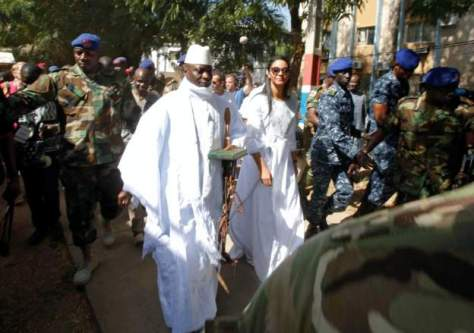 President Jammeh at a polling station yesterday