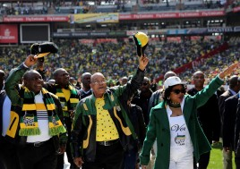 ANC leaders greet party supporters at a recent rally. Photo: Reuters/Siphiwe Sibeko