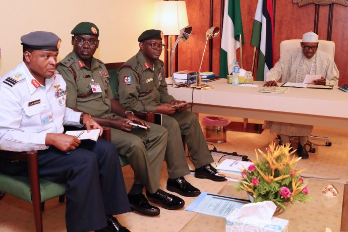 On arrival, here is what Buhari said to security chiefs