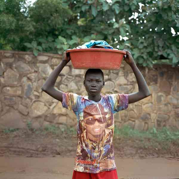 Togune, a Juba resident, wears a T-shirt that features his favorite Ugandan musician, Diamond.