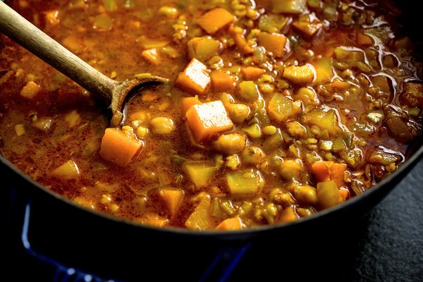 Today's recipe: North African bean stew with barley and winter squash