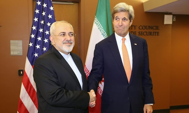 Iran's foreign minister, Mohammad Javad Zarif, and then US secretary of state, John Kerry, at the UN in April 2016 after the JCPOA on Iran's nuclear programme was implemented.
