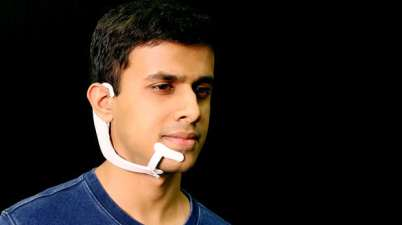 MIT's AlterEgo headset can 'hear' internalised voices and speak to the user through a bone-conduction system. Photograph: Lorrie Lejeune/MIT