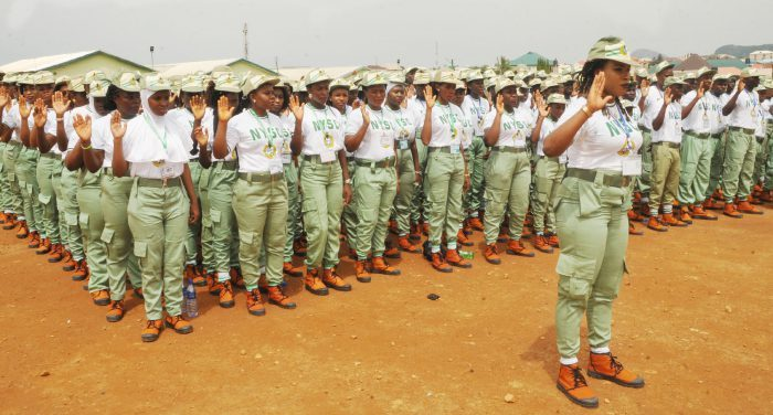 National Youth Service Corps (NYSC) 2017 Batch 'A' members taking oath during their swearing-in ceremony in Abuja on Thursday (25/5/17). 02806/25/5/2017/Anthony Alabi/BJO/NAN