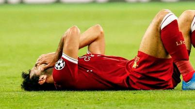 Liverpool forward Mohamed Salah to left the pitch 30 minutes into the Champions League final.