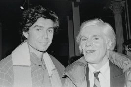 "Richard Bernstein, left, and Andy Warhol, circa 1980. Mr. Warhol, who commissioned Mr. Bernstein to create the covers for Interview magazine, said Mr. Bernstein ""makes everyone look so famous. Photo: Bobby Grossman/Rizzoli"
