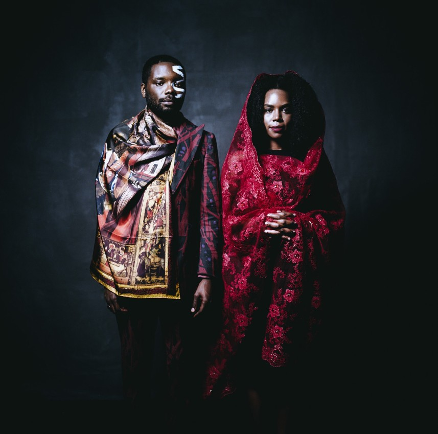 "James Jean, who is Haitian-American, and Patrice Worthy, who is African-American, wearing traditional clothing from their parents' heritage. New York, United States, 2016. From the series ""After Migration."" Photo: Walé Oyéjidé"