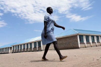 Margaret Imoli at Kalobeyei Settlement Primary school in Kakuma, Turkana County on September 21, 2018. The teenager has managed to run a home successfully for two years and still keep up with her school work. PHOTO| EVANS HABIL | NATION