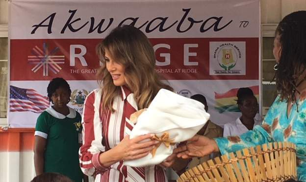 Melania Trump arrives Ghana, visits Accra hospital