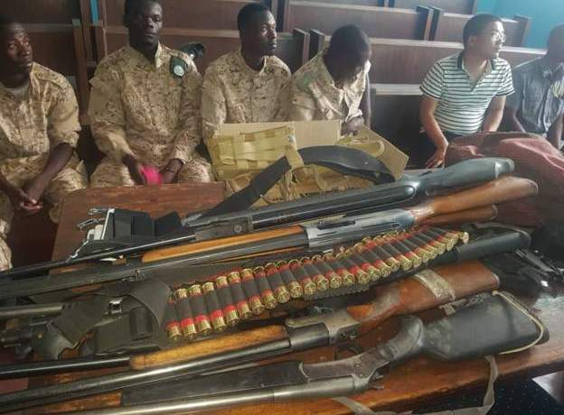 Police say they seized weapons during the operation. Photo: Zambia police