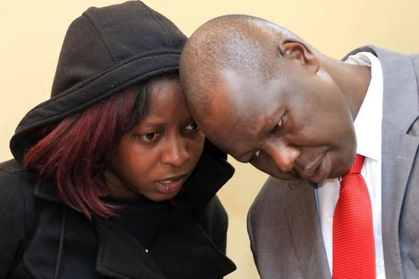 Citizen TV journalist Jacque Maribe talking to her lawyer, Katwa Kigen, at the Kiambu Law Courts on October 1, 2018. PHOTO | JEFF ANGOTE | NATION MEDIA GROUP