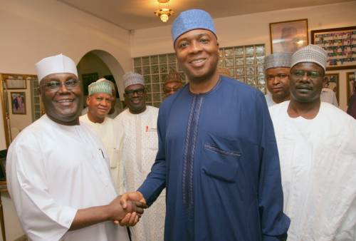 Atiku Abubakar shaking hands with Bukola Saraki