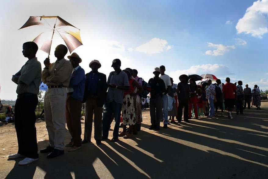 Voters line up in South Africa's last election. Their concerns are shifting. Photo: EFE-EPA/Kim Ludbrook