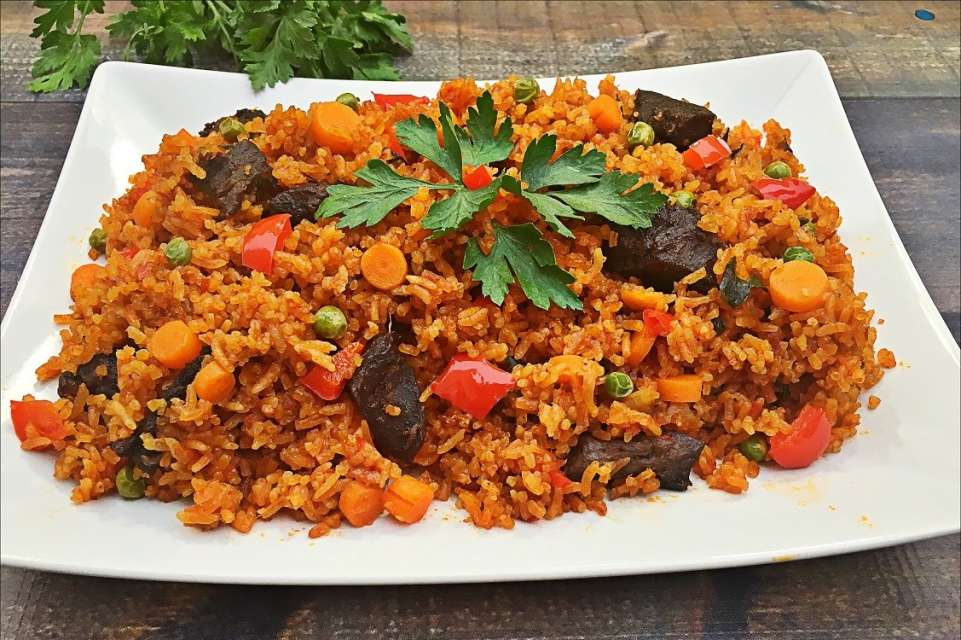 Jollof is made of rice, tomatoes and spices