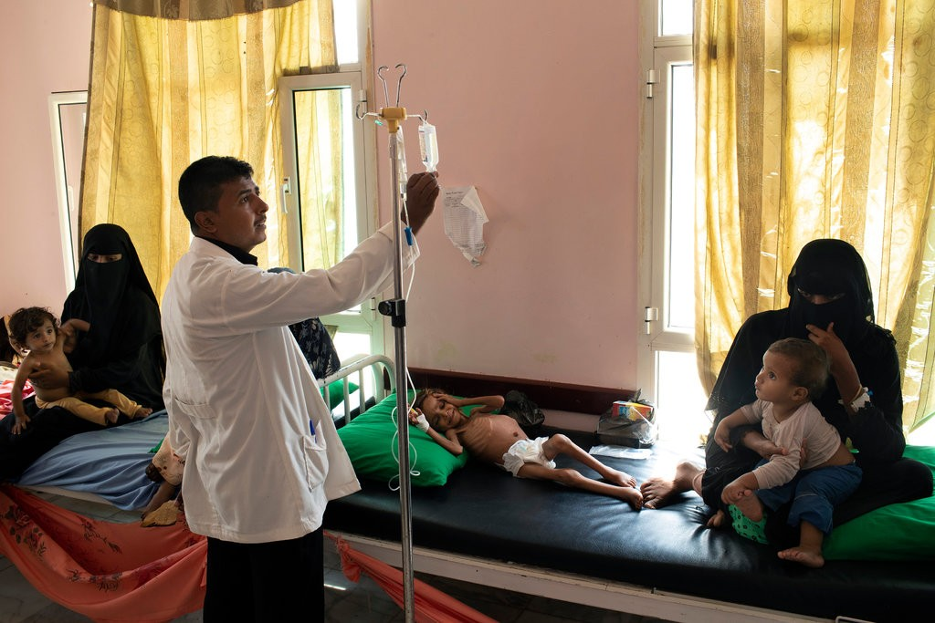 Amal being treated for acute malnutrition last month at a mobile clinic in Aslam, Yemen. Photo: Tyler Hicks/The New York Times
