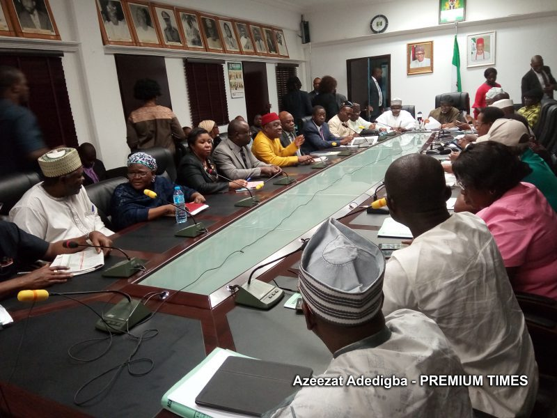 File photo of ASUU meeting with the Nigerian govt delegation prior to a warning strike