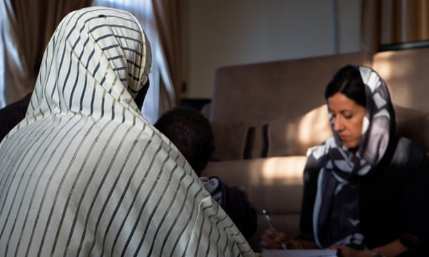 Azadeh Moaveni (right) interviews a woman in northeastern Nigeria. Photograph: Jorge Gutierrez Lucena/Crisis Group