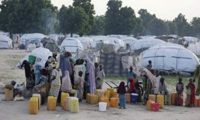 An internally displaced person camp in Maiduguri, Nigeria, like the one that houses Zahra and Amina. Photo: Sunday Alamba/AP