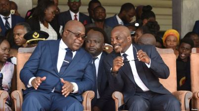 Outgoing President Joseph Kabila, on the right, and his successor Felix Tshsiekedi