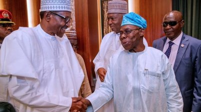 From left: President Muhammadu Buhari; Senate President Bukola Saraki and former President Olusegun Obasanjo at the National Council of State Meeting at the Presidential Villa in Abuja on Tuesday
