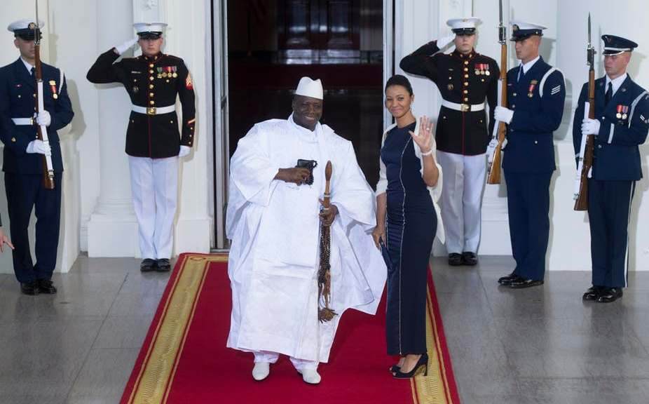 Then President of The Gambia Yahya Jammeh and First Lady Zeinab arrive at the White House in Washington DC for the US Africa Leaders Summit in 2014. EPA/Michael Reynolds
