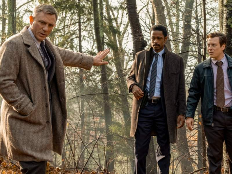 Daniel Craig, Lakeith Stanfield and Noah Segan in Knives Out. Photograph: Claire Folger