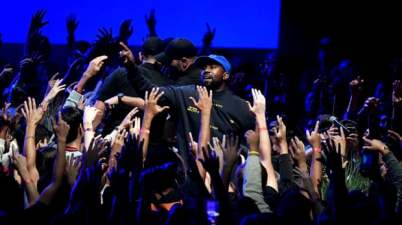 Kanye West performs in Inglewood, California, last month. Photograph: Kevin Winter/Getty Images for ABA
