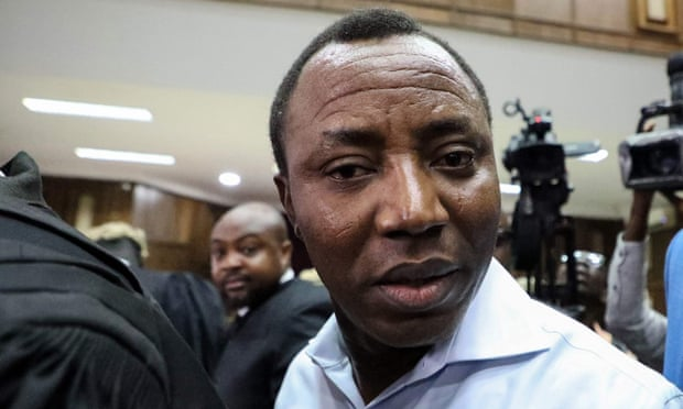 Omoyele Sowore, founder of the New York-based online news agency Sahara Reporters, remains in detention and is currently on hunger strike. Photograph: Kola Sulaimon/AFP/Getty Images