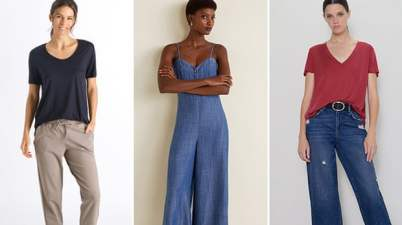 L-R: a lyocell t-shirt from Hanro, jumpsuit from Mango and t-shirt from Zara.