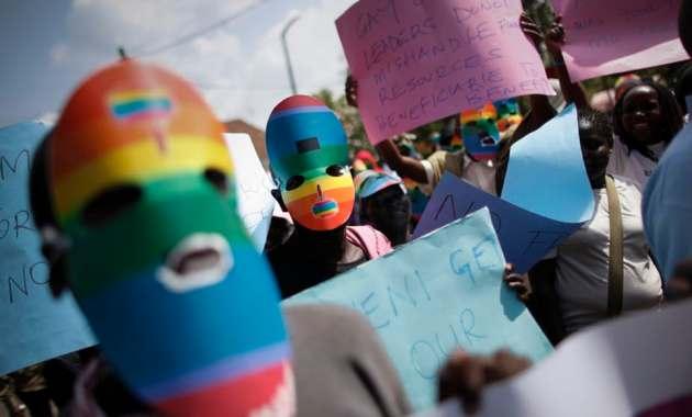 A protest against Uganda's anti-gay bill in front of the Ugandan High Commission in Nairobi, Kenya, in 2014. DAI KUROKAWA/EPA