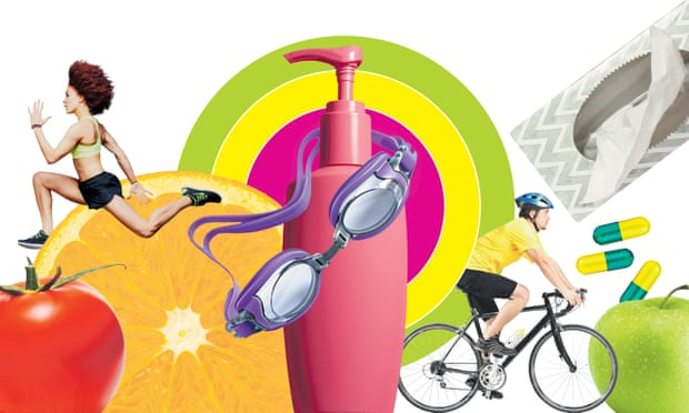 Eat more plants and get on your bike. Composite: Guardian Design Team