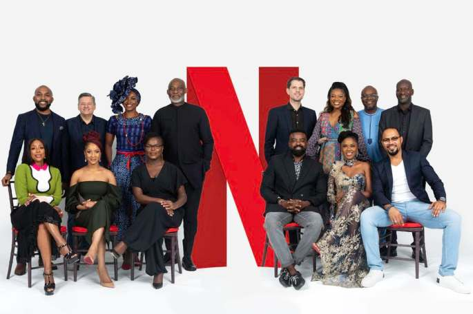 Back row (From L-R): Banky W, Ted Sarandos (Netflix Chief Content Officer), Kate Henshaw, Richard Mofe-Damijo, Felipe Tewes (Netflix Italian & African Originals Director), Omoni Oboli, Ben Amadasun (Netflix Africa Licensing Director) and Akin Omotoso Front Row (L-R) Mo Abudu, Adesua Etomi, Dorothy Ghettuba (Netflix African Originals lead) , Kunle Afolayan, Kemi Adetiba and Ramsey Noah.