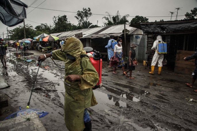 Health workers disinfecting a market in Toamasina, Madagascar, this month. Public health experts have warned that Africa could become the next epicenter of the Covid-19 pandemic.Credit...Rijasolo/Agence France-Presse — Getty Images