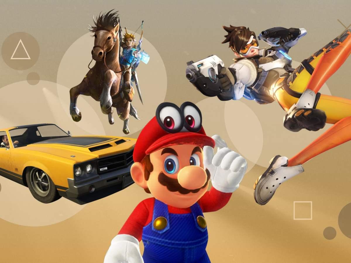 From left: GTA V, Legend of Zelda: Breath of the Wild, Super Mario Odyssey, Overwatch. Composite: The Guardian Design Team