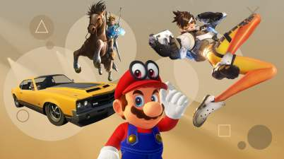 From left: GTA V, Legend of Zelda: Breath of the Wild, Super Mario Odyssey, Overwatch. Composite: The Guardian Design Team